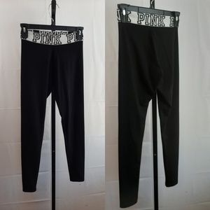 PINK Victoria secret black and white yoga pants XS